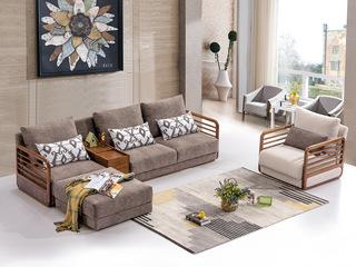 合盛佐罗 北欧风格设计 白蜡木框架 北欧沙发组合(右扶手双人位+储物柜+左扶手单人位+脚踏)