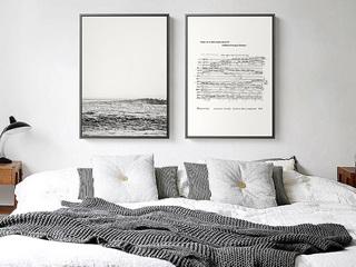 现代简约装饰画客厅沙发背景墙壁画北欧餐厅卧室黑白风景两联挂画
