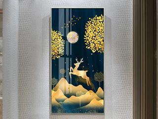 福鹿 家居装饰画现代简约玄关画北欧客厅沙发背景墙喷绘挂画