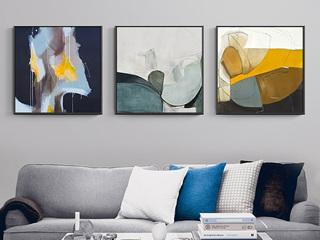 北欧客厅抽象装饰画现代简约背景墙面挂画玄关卧室床头三联组合画