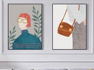 北欧客厅人物装饰画现代简约卧室餐厅艺术挂画沙发背景墙壁画 两联套装