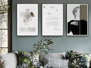 北欧客厅人物装饰画现代黑白抽象艺术女郎墙画酒店民宿装饰画