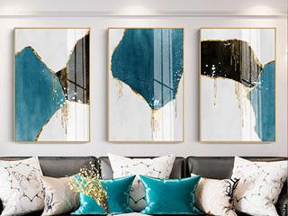 北欧挂画 客厅壁画 抽象三联画 背景墙画 装饰画