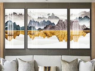 新中式客厅装饰画沙发背景三联挂画