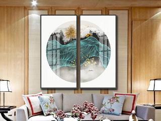 新中式客厅装饰画现代简约轻奢抽象山水画沙发背景墙玄关挂画两联