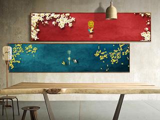 新中式客厅沙发背景卧室床头创意古典意境艺术装饰画餐厅挂画 两幅画