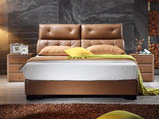 凤凰天 超平超软羊纹小牛皮 分割式靠背 深拉扣技术 现代风1.8米双人床