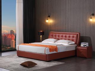 凤凰天 纳帕羊纹小牛皮 个性喜庆嫣红色调 舒适拉点靠背 时尚1.8米齐边小尺寸双人床