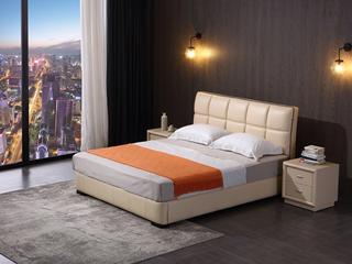 凤凰天 纳帕羊纹小牛皮 简单大气米色方块回头靠背 时尚1.8米齐边小尺寸双人床