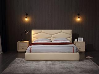 凤凰天 现代风格优雅菱形床头设计 流畅轮廓 亲肤柔软 科技仿真皮 简约皮艺1.8米高箱床
