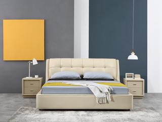 凤凰天 精选优质高档耐磨 顶级头层牛皮 软包床头 奢华大气现代风格 双人1.8米大床