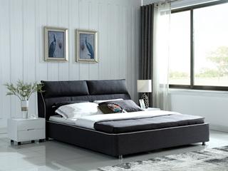 凤凰天 全实木框架 透气棉麻面料 双排铆钉围边 现代风格1.8米排骨架床