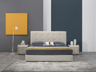 凤凰天 现代简约比利时高档仿羊绒布艺床 齐边软包靠背小户型 现代风格1.8米齐边床 可拆洗
