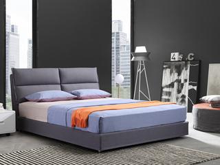 凤凰天 简约现代布艺床双人床可拆洗 卧室1.8米软床