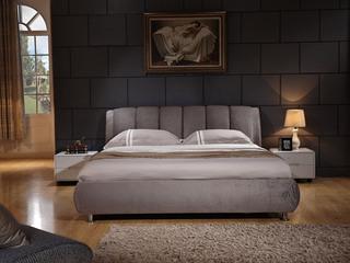 凤凰天  抗静电纯棉植绒布 加厚面包状释压靠背 弧形防撞设计 现代风格1.8米排骨架双人床