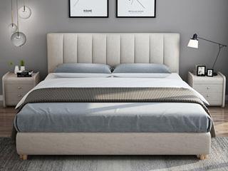 凤凰天 北欧风格 全拆洗 布艺双人床 舒适靠背 小尺寸小户型首选 结构坚固 1.5米大床 高箱床