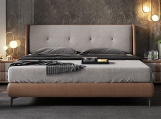 凤凰天 北欧风格 全拆洗 布艺双人床 舒适靠背 小尺寸小户型首选 结构坚固 1.8米大床