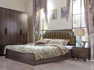 宏宇家私 北欧实木床现代简约主次卧双人床1.8米婚床家具 航空西皮(此款为普通床 图为高箱)