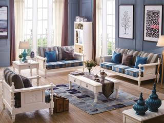 韩式田园风格 象牙白实木布艺沙发 咖啡+湖蓝格子条纹坐垫 沙发组合 沙发组合(1+2+3)