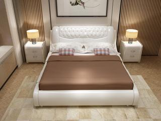 现代简约皮艺系列1.8米床 白色实木+白色仿真皮床头靠包 流线型现代风格双人床 卧室双人皮床实木框架