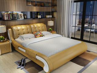 现代简约 皮艺系列1.8床 仿真皮+排骨架