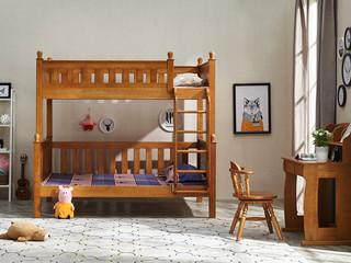 进口智利松1.35米双层儿童床全实木床板床