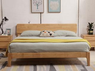 荣之鼎 北欧风格橡胶木1.8米床 原木色 高箱床