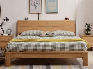 荣之鼎 珍贵进口橡木框架  人体工学设计靠背 双人排骨架1.8米原木色大床