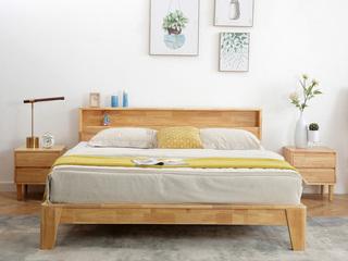 荣之鼎 北欧风格 原始清晰木纹 优质进口橡胶木框架 1.8米双人床