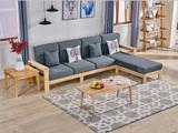荣之鼎 美式轻奢风格 北欧贵妃沙发 优质橡胶木 高密度海绵软包 舒适升级 四人位左贵妃组合
