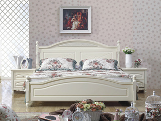 宏宇家私 伊芬系列 浪漫公主双人床 优雅温馨归属 环保品牌床 象牙白1.8米床(含2个床头柜)