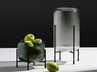 浅灰绿 玻璃两件套圆柱花瓶(包邮)