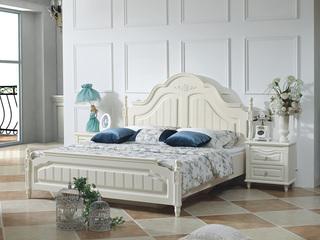 宏宇家私 伊芬系列 韩式风格 进口橡胶木+E1级中密度板 回味田园 1.8米床(含2个床头柜)