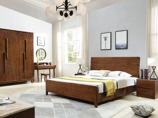 维平 北欧系列 高端实木 胡桃色实木框架 北欧风格1.8米床