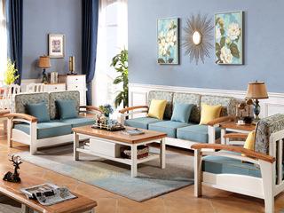 地中海系列 进品高端橡胶木 弧形扶手沙发 更贴近生活 橡木压纹 沙发组合(1+2+3)