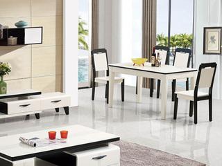 华辉 现代简约 钢化玻璃 1.3米餐桌