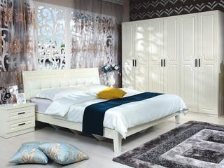 宏宇家私 简尚系列 现代简欧风格  E1级中密度板板木床 软靠双人床 1.8米床
