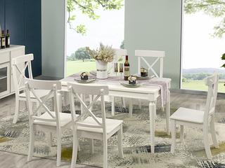 卢塞恩系列 轻奢风格长方形白色餐桌1.3米 白色实木餐桌 北欧风格餐厅饭桌 简约现代餐厅家具