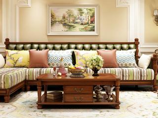 金麟家具 美式茶几全实木茶几组合储物柜大小户型客厅实木家具