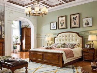 美式床 1.5*2.0米排骨架床(图为高箱床,实际为排骨架)