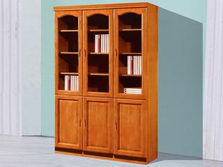 汉鼎 柚木色三门书柜