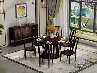 邦美森 金丝檀木实木 栏栅式个性中柱 1.33米新中式圆餐桌(含转盘)