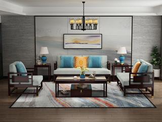邦美森 金丝檀木实木 舒适布艺 新中式沙发组合(1+2+3)