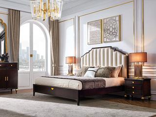 柏莎贝尔 保时捷系列 全实木进口胡桃木结构坚固框架 高精密绣仿皮软包床头 典雅奢华床1.8床