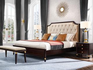 柏莎贝尔 保时捷系列 意式轻奢风格 现代简约软靠双人床 进口胡桃木 1.8米床