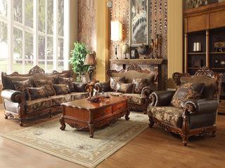 邦美森 艾菲尔色皮配布沙发组合1+2+3