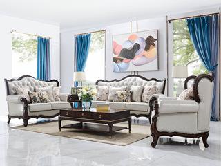 邦美森 现代美式皮艺沙发1+2+3沙发组合