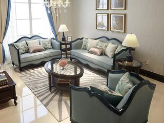邦美森 现代美式布艺沙发组合1+2+3(A款)