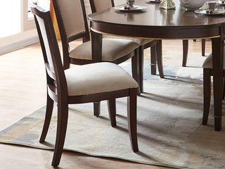 邦美森 现代美式无扶手布艺餐椅