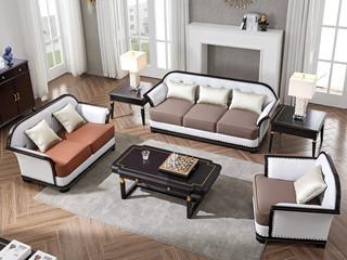 柏莎贝尔 保时捷系列 高端纳帕仿真皮 优质进口胡桃木 户型样板房禅意家具沙发组合(1+2+3)